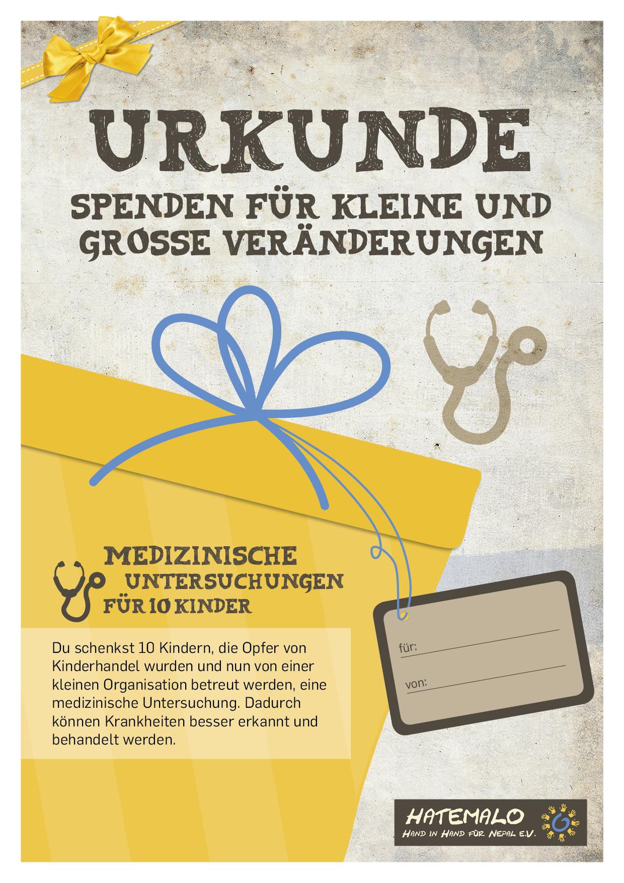 Urkunde 2016 Winterkleider für 5 Kinder